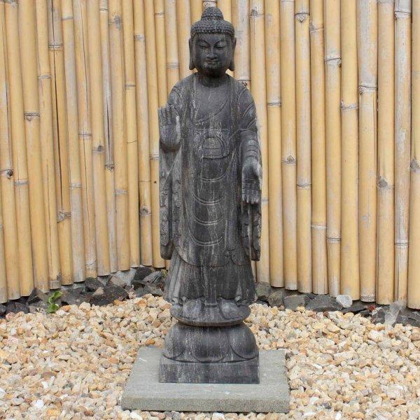 Naturstein Amoghasiddhi Buddha (91cm) Stehende Garten Statue