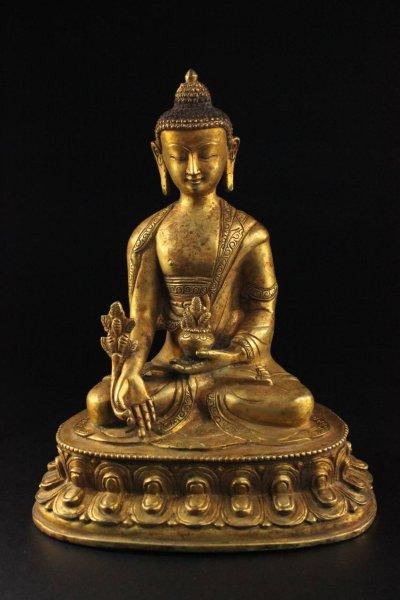 Medizin Buddha Figur Bronze Nepal, vergoldet