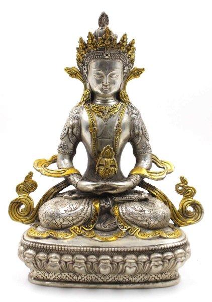 Buddha Figur (29cm) Amitayus aus Bronze
