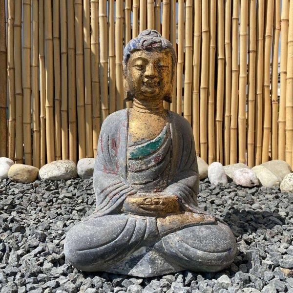 Amitabha Buddha (41cm) Figur aus Naturstein - Gartenfigur