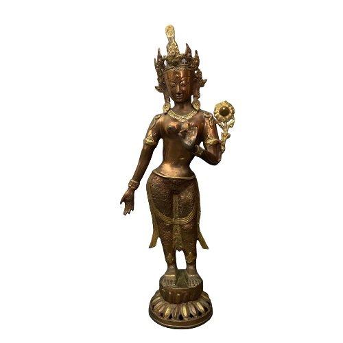 Stehender Weiße Tara Buddha (75cm) Bronze Figur
