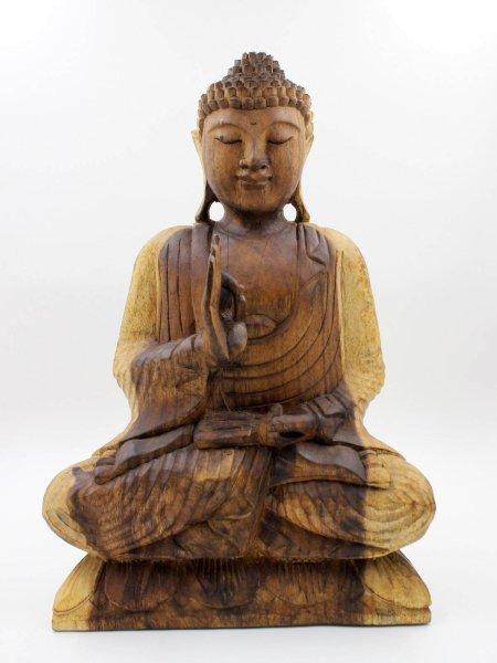51 cm große Holz Buddha Figur mit Vitarka Mudra