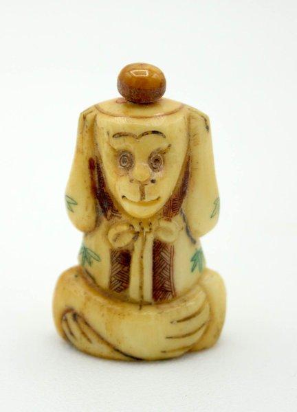 Affe Nichts Hören Snuff Bottle Figur aus Yak - Knochen