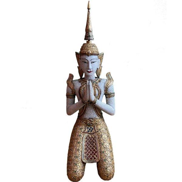 Thailändischer Tempelwächter Teppanom Holz Skulptur 98cm