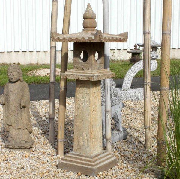 Asiatisches Naturstein Geisterhaus (150cm) Garten Laterne