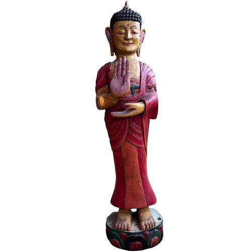 Bemalte Holz Buddha Figur (102cm) Tibet Skulptur