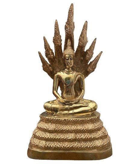 Naga Buddha Schlangen Figur aus Bronze - 31cm groß