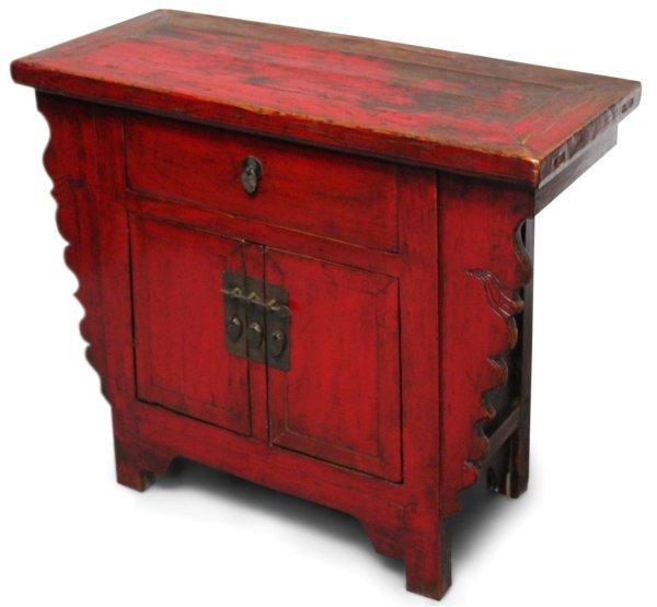 Asiatische Kommode in Rot aus Ulmenholz