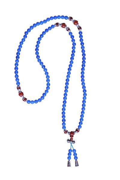 Buddhistische Halskette Mala, blauer Achat
