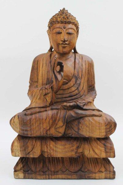 Holz Buddha Figur mit Vitarka Mudra
