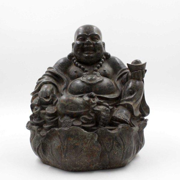 Happy Buddha Figur Bronze (25cm) Hotai Budda China