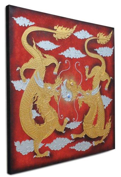 Wandbild mit 2 Drachen, Thailand