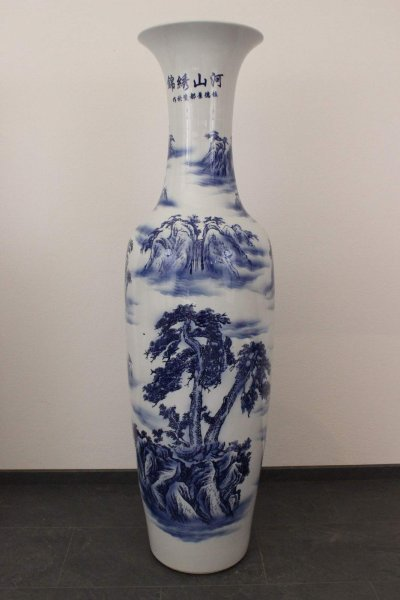 Große Bodenvase China Porzellan, handbemalt, 161cm groß