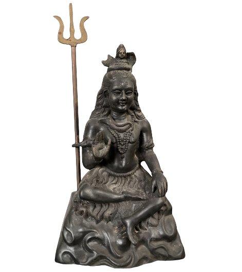 Hindu Gottheit Shiva Figur (43cm) Gußeisen Skulptur