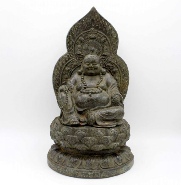 Happy Buddha Figur Bronze (30cm) Hotai Buddha China