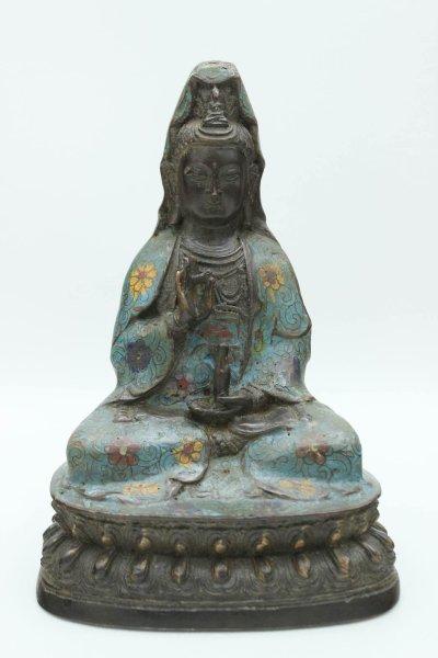 Cloisonne Guanyin Buddha Figur, Bronze