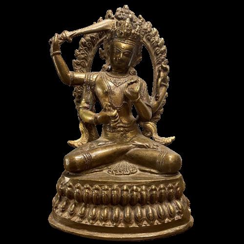 Manjushri Buddha Figur (21cm) Bronze Statue