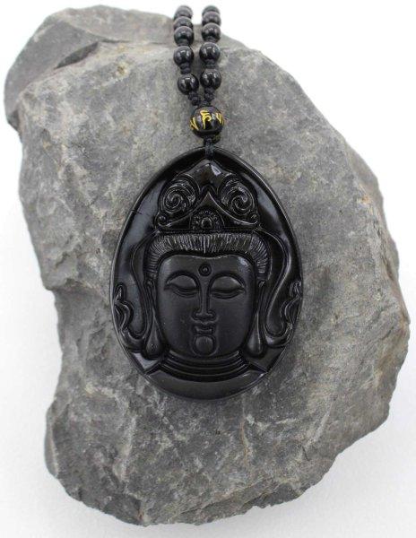 Kwan Yin Buddha Kopf Anhänger - Black Obsidian Halskette + Schmuckbeutel