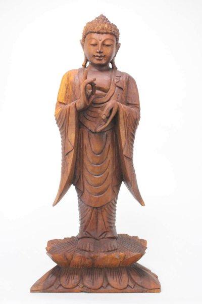 Buddha Statue aus Holz, Rad der Lehre