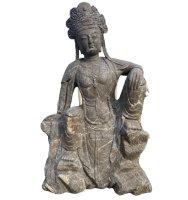 Große Kwan-Yin Buddha Statue aus Marmor Stein