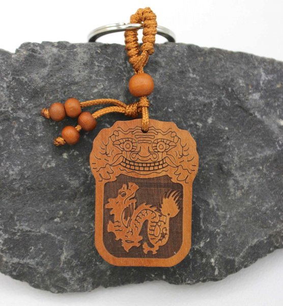 Tierkreiszeichen Drache (10,5cm) Rosenholz Schlüsselanhänger