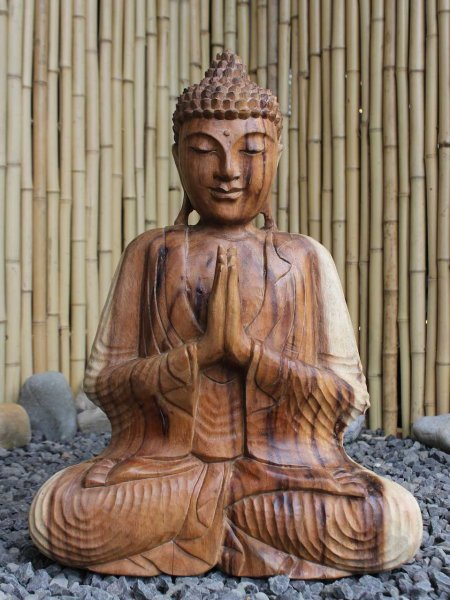 Namaste Buddha Figur aus Holz
