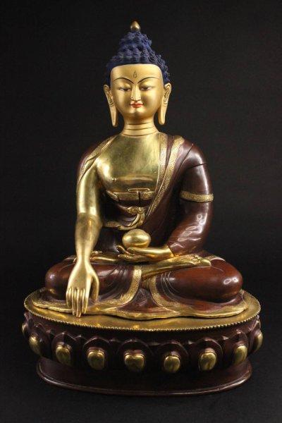 Nepal Buddha Figur aus Bronze, teilvergoldet