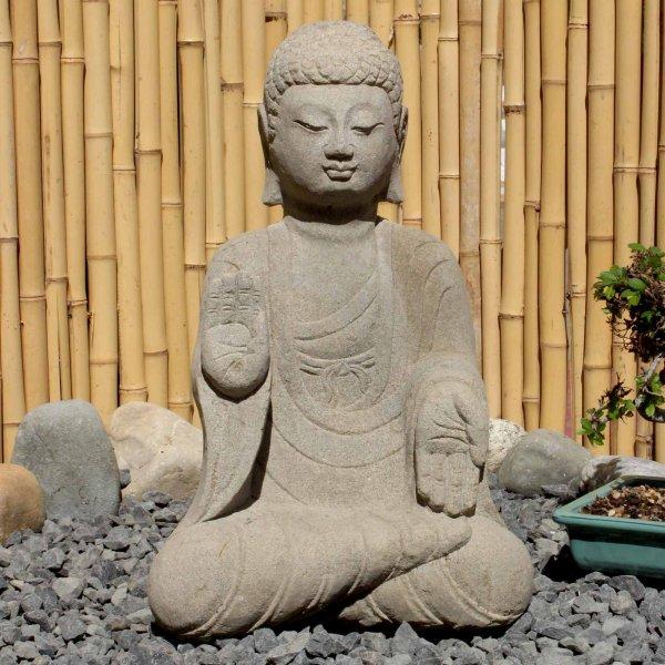 Garten Buddha Statue (45cm) Naturstein Amoghasiddhi