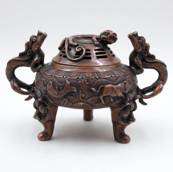 Hochwertiges Drachen Räuchergefäß aus China - Bronze