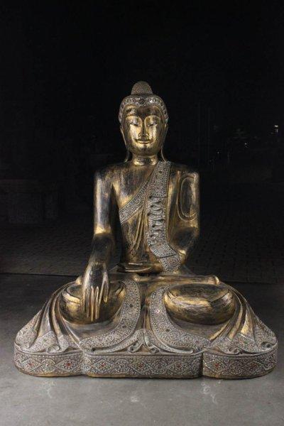 Große Buddha Statue aus Teakholz, Thailand