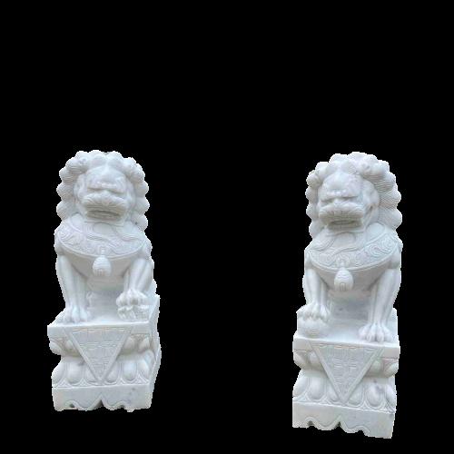 Weiße Tempellöwen (80cm) aus Marmor Stein für Ihren Garten