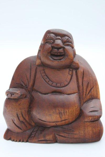 Kleine Hotai Buddha Figur aus Holz