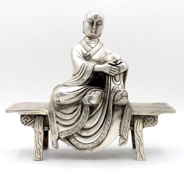 Buddhistischer Mönch (20,5cm) Bronze Figur auf Bank sitzend