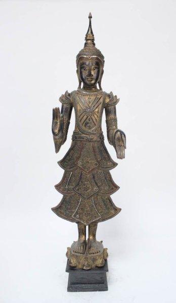 Holz Buddha Figur mit Teaching Geste