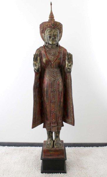 194 cm große Mandalay Buddha Statue - Marsala-Rot