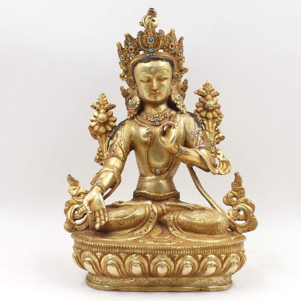 Weiße Tara Bronze Buddha Figur (31,5cm) 24 K Feuervergoldet