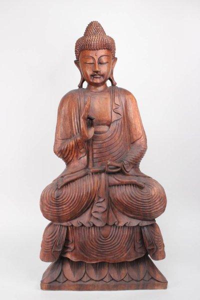 Sitzender Holz Buddha - Rad der Lehre