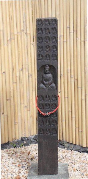 Große Garten Buddha Stele aus Naturstein - 150cm