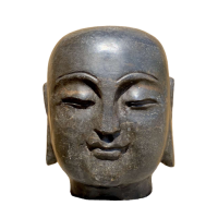 Buddha Schüler Mönch Ananda (17cm) Naturstein Kopf Statue Garten
