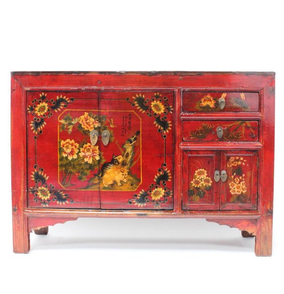 Lotusblumen bemaltes Sideboard aus China, 124 cm