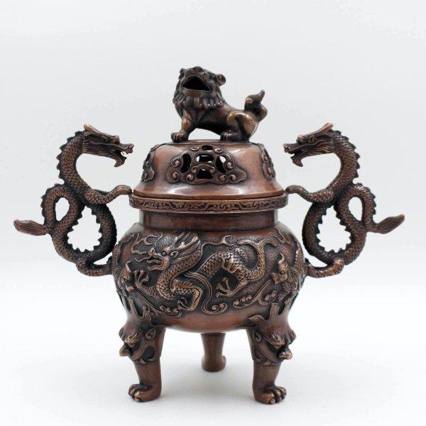 Hochwertiges Drachen Räuchergefäß aus China - Kupfer Bronze