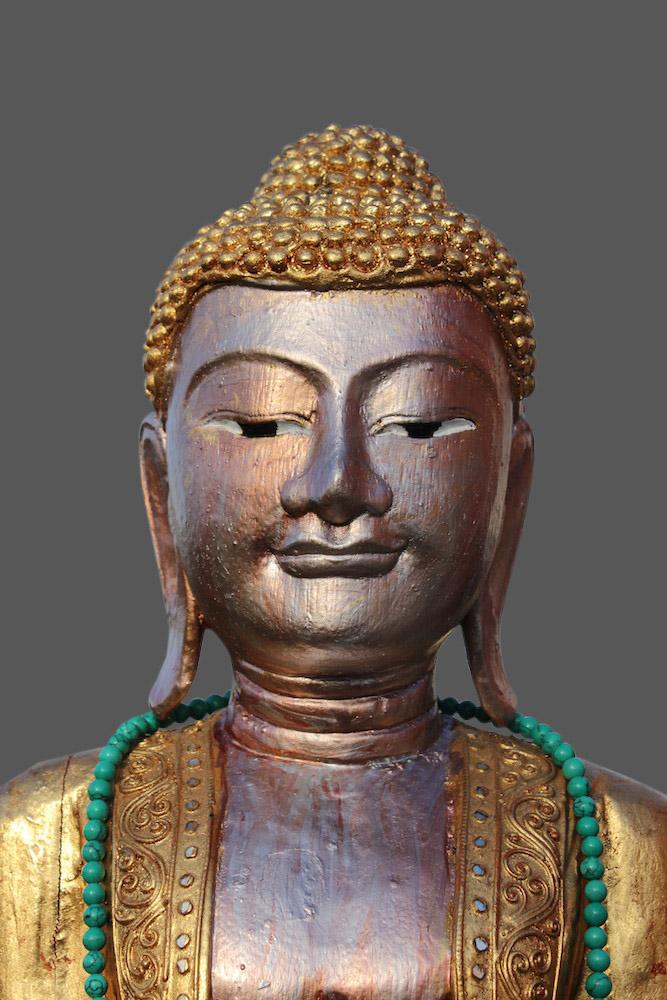stehender buddha aus holz thai buddha blattvergoldet thailand figur statue. Black Bedroom Furniture Sets. Home Design Ideas