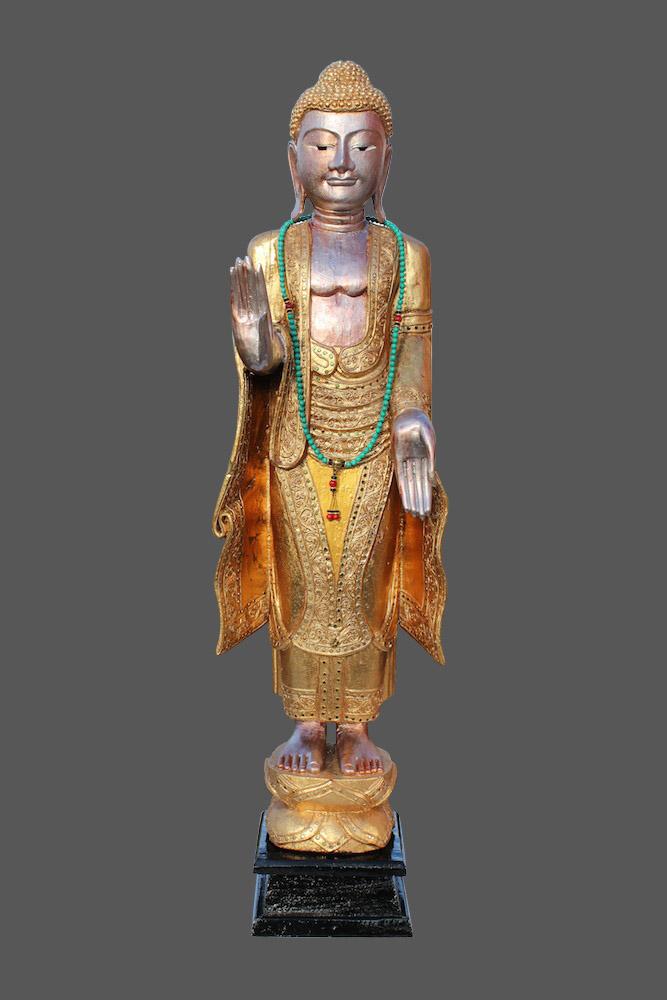 Stehender buddha aus holz thai buddha blattvergoldet for Buddha figur holz