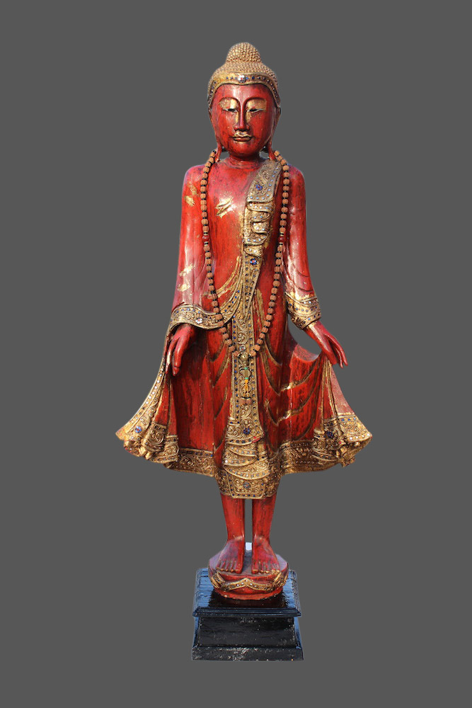 stehender buddha aus holz thai buddha thailand figur statue budda skulptur ebay. Black Bedroom Furniture Sets. Home Design Ideas