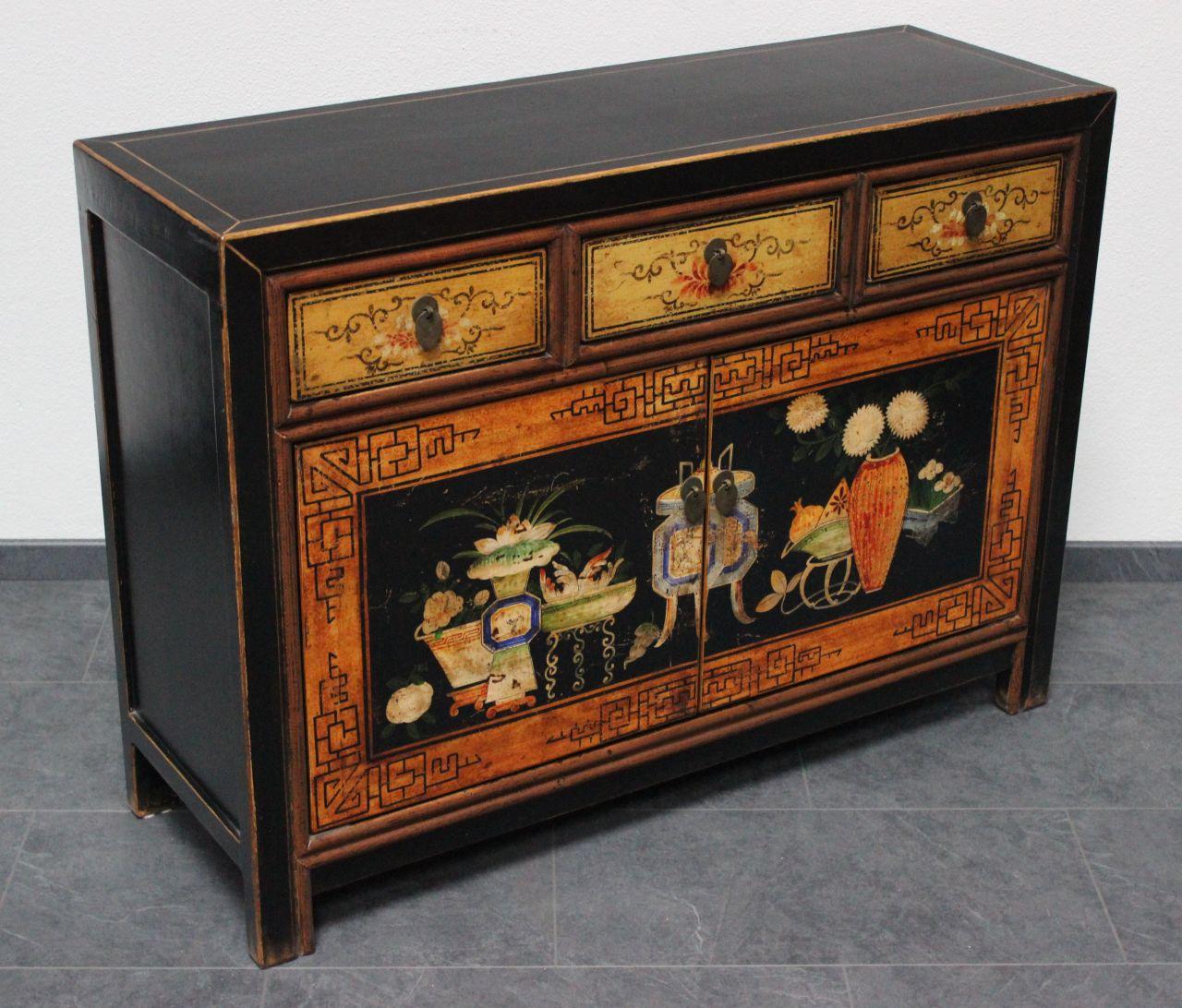 asiatische kommode schwarz 117 cm antik look sideboard china asienlifestyle ebay