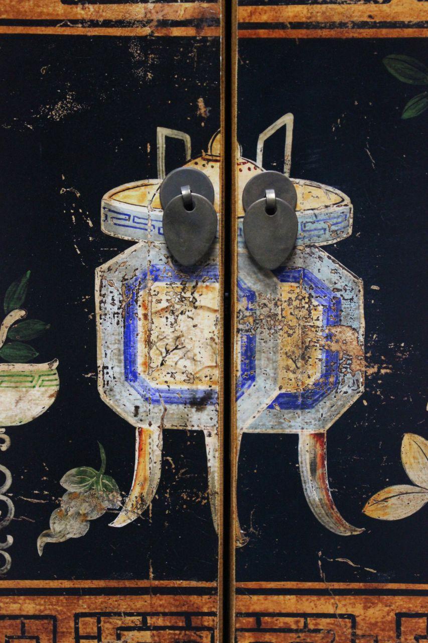 Asiatische kommode schwarz 117 cm antik look sideboard for Asiatische kommode
