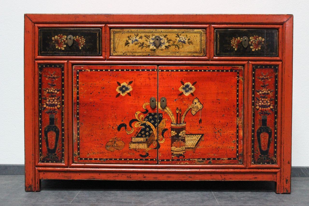 Asiatische Kommode Rot 127cm Antik Look Sideboard China Mobel