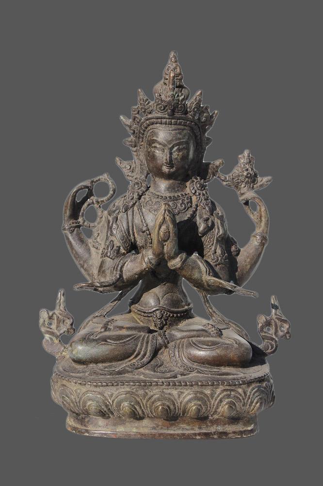 Chenrezig buddha figur bronze budda tibetische skulptur for Buddha figur