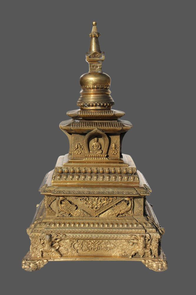 Bronze Stupa Statue Buddha Turm Tibetische Stupa Aus