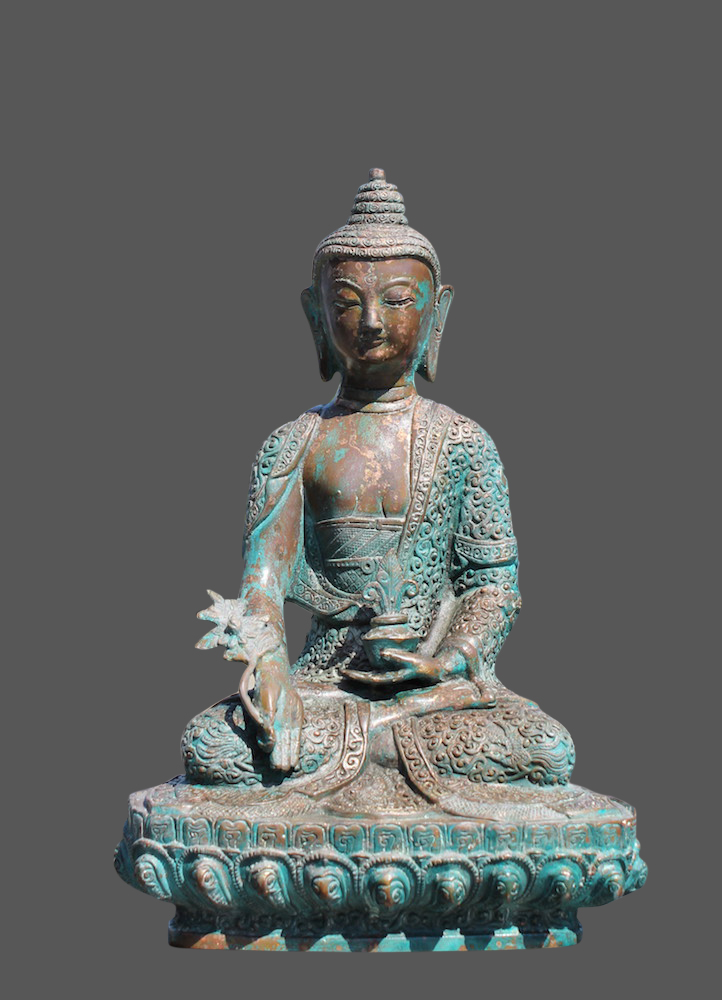 medizin buddha figur aus bronze tibet china statue mit kr ftiger patina ebay. Black Bedroom Furniture Sets. Home Design Ideas